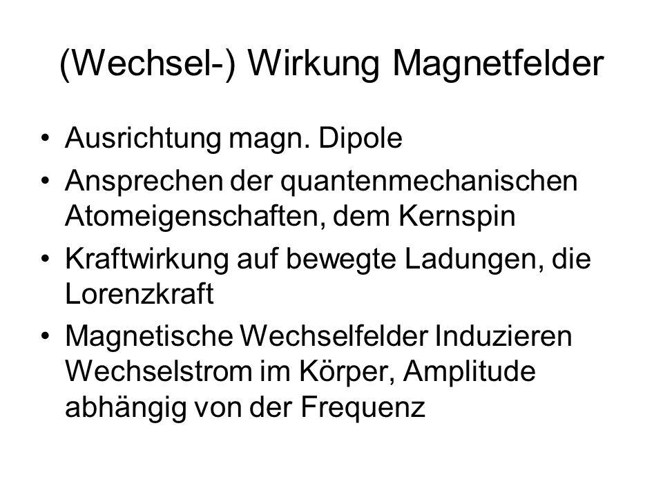 (Wechsel-) Wirkung Magnetfelder Ausrichtung magn. Dipole Ansprechen der quantenmechanischen Atomeigenschaften, dem Kernspin Kraftwirkung auf bewegte L