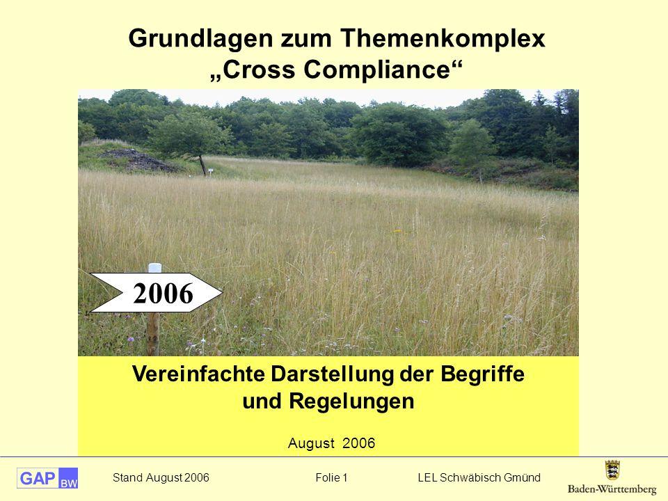 """Stand August 2006 Folie 1 LEL Schwäbisch Gmünd Grundlagen zum Themenkomplex """"Cross Compliance"""" Vereinfachte Darstellung der Begriffe und Regelungen Au"""