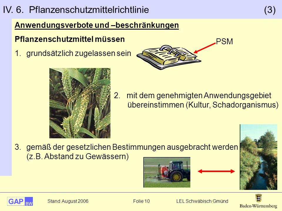Stand August 2006 Folie 10 LEL Schwäbisch Gmünd Anwendungsverbote und –beschränkungen Pflanzenschutzmittel müssen 1.grundsätzlich zugelassen sein 2. m