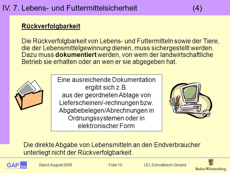 Stand August 2006 Folie 15 LEL Schwäbisch Gmünd IV. 7. Lebens- und Futtermittelsicherheit (4) Rückverfolgbarkeit Die Rückverfolgbarkeit von Lebens- un