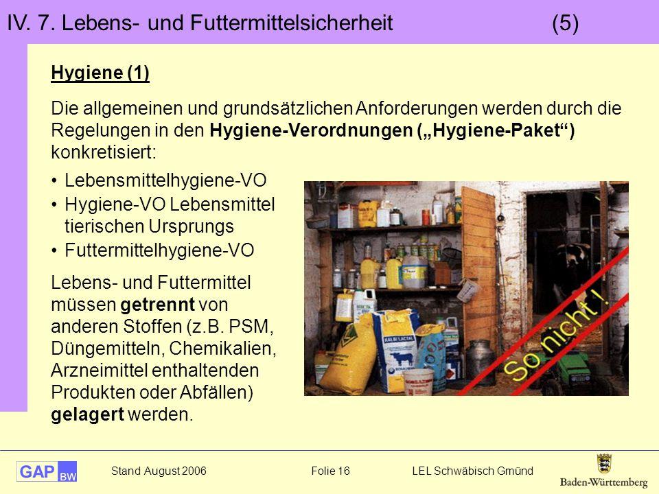 Stand August 2006 Folie 16 LEL Schwäbisch Gmünd IV. 7. Lebens- und Futtermittelsicherheit (5) Hygiene (1) Lebens- und Futtermittel müssen getrennt von