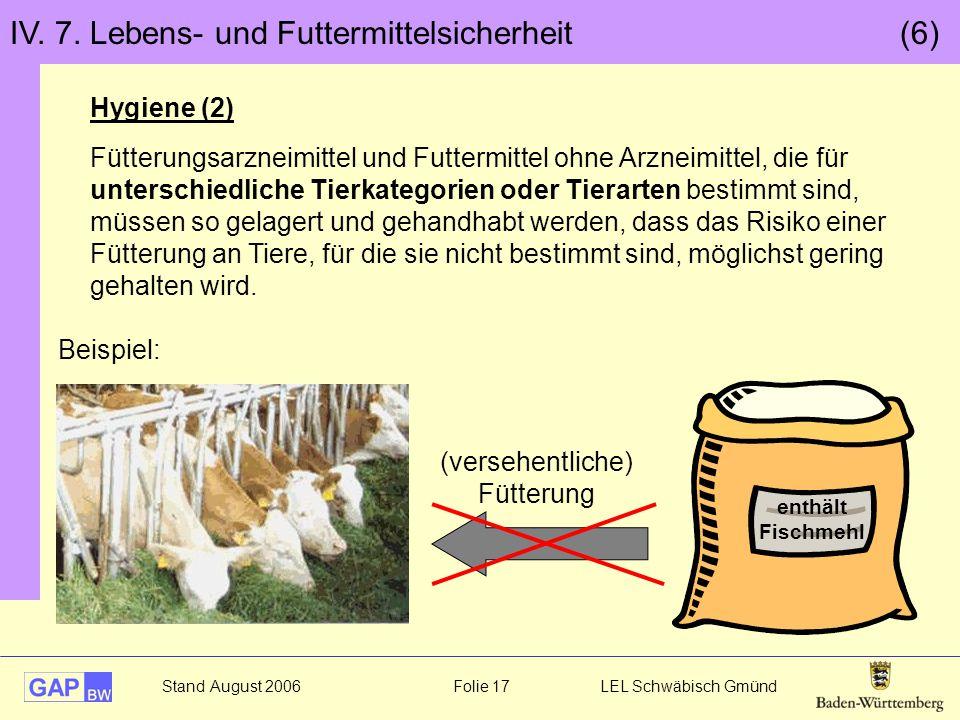 Stand August 2006 Folie 17 LEL Schwäbisch Gmünd IV. 7. Lebens- und Futtermittelsicherheit (6) Hygiene (2) Fütterungsarzneimittel und Futtermittel ohne