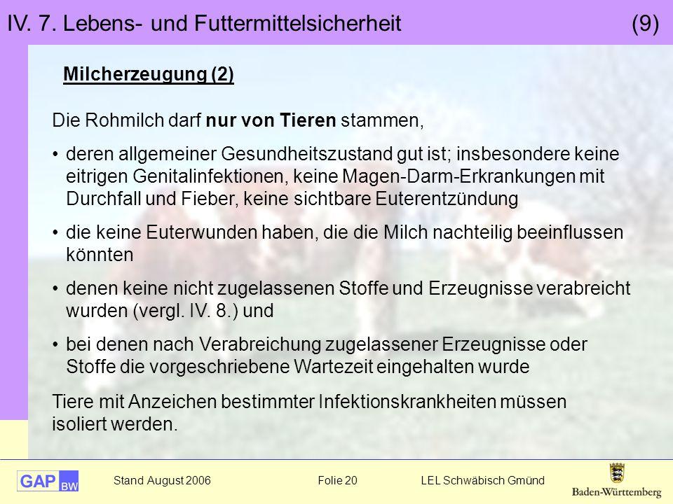 Stand August 2006 Folie 20 LEL Schwäbisch Gmünd IV. 7. Lebens- und Futtermittelsicherheit (9) Milcherzeugung (2) Die Rohmilch darf nur von Tieren stam