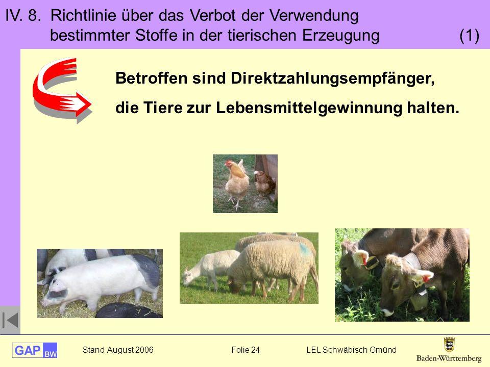 Stand August 2006 Folie 24 LEL Schwäbisch Gmünd IV. 8. Richtlinie über das Verbot der Verwendung bestimmter Stoffe in der tierischen Erzeugung (1) Bet
