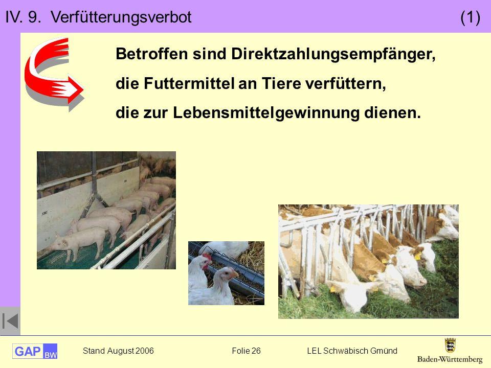 Stand August 2006 Folie 26 LEL Schwäbisch Gmünd IV. 9. Verfütterungsverbot (1) Betroffen sind Direktzahlungsempfänger, die Futtermittel an Tiere verfü