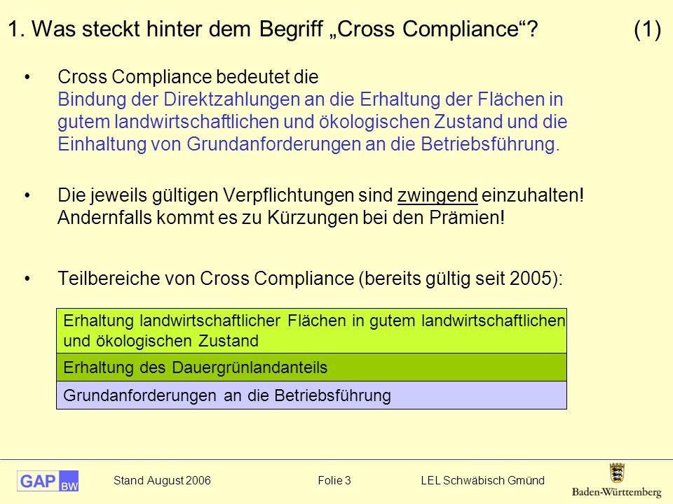 Stand August 2006 Folie 3 LEL Schwäbisch Gmünd Cross Compliance bedeutet die Bindung der Direktzahlungen an die Erhaltung der Flächen in gutem landwir