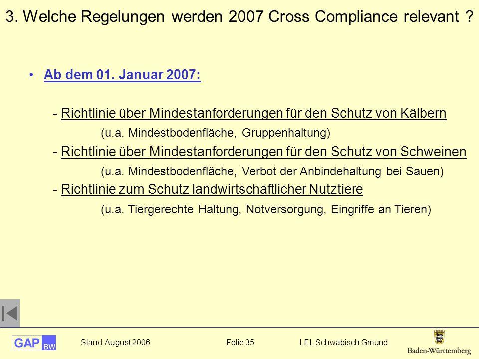 Stand August 2006 Folie 35 LEL Schwäbisch Gmünd Ab dem 01. Januar 2007: - Richtlinie über Mindestanforderungen für den Schutz von Kälbern (u.a. Mindes