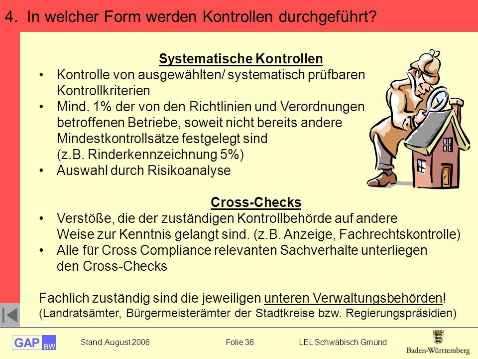 Stand August 2006 Folie 36 LEL Schwäbisch Gmünd 4. In welcher Form werden Kontrollen durchgeführt? Systematische Kontrollen Kontrolle von ausgewählten