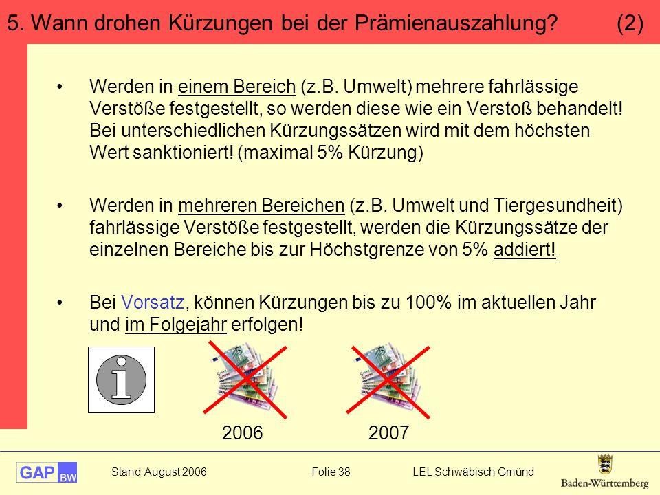 Stand August 2006 Folie 38 LEL Schwäbisch Gmünd Werden in einem Bereich (z.B. Umwelt) mehrere fahrlässige Verstöße festgestellt, so werden diese wie e
