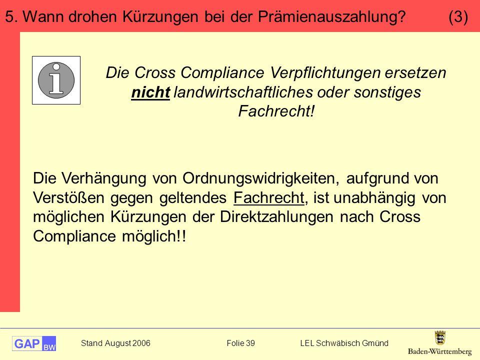 Stand August 2006 Folie 39 LEL Schwäbisch Gmünd Die Verhängung von Ordnungswidrigkeiten, aufgrund von Verstößen gegen geltendes Fachrecht, ist unabhängig von möglichen Kürzungen der Direktzahlungen nach Cross Compliance möglich!.