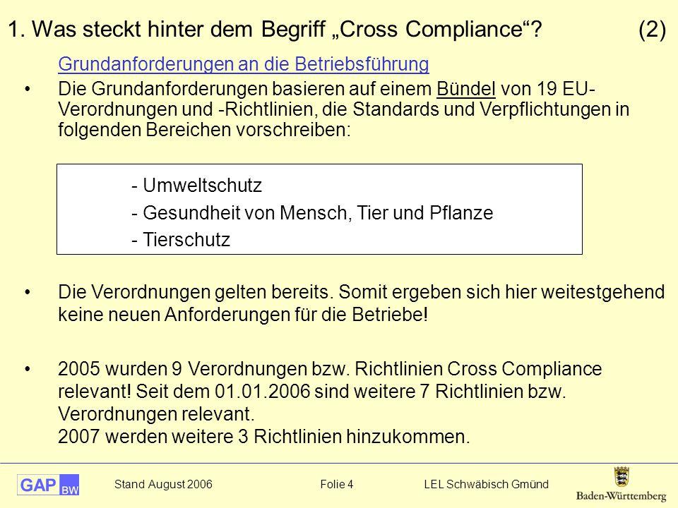 """Stand August 2006 Folie 4 LEL Schwäbisch Gmünd 1. Was steckt hinter dem Begriff """"Cross Compliance""""? (2) Grundanforderungen an die Betriebsführung Die"""