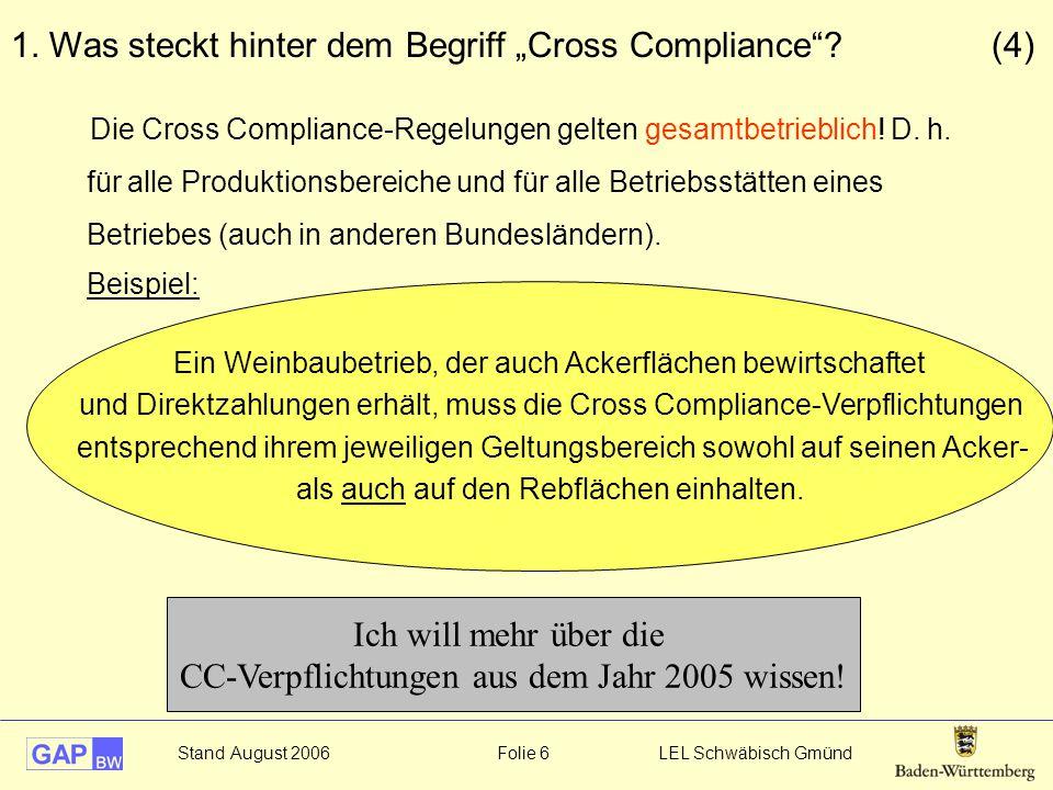 """Stand August 2006 Folie 6 LEL Schwäbisch Gmünd 1. Was steckt hinter dem Begriff """"Cross Compliance""""? (4) Ein Weinbaubetrieb, der auch Ackerflächen bewi"""