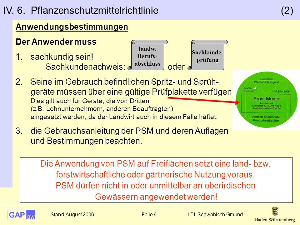 Stand August 2006 Folie 10 LEL Schwäbisch Gmünd Anwendungsverbote und –beschränkungen Pflanzenschutzmittel müssen 1.grundsätzlich zugelassen sein 2.