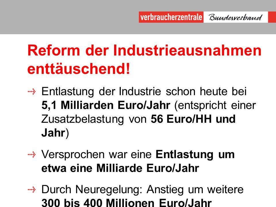 Reform der Industrieausnahmen enttäuschend.