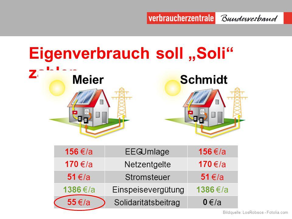 "Eigenverbrauch soll ""Soli zahlen MeierSchmidt 156 €/aEEG-Umlage 156 €/a 170 €/aNetzentgelte 170 €/a 51 €/aStromsteuer 51 €/a 1386 €/aEinspeisevergütung 1386 €/a 55 €/aSolidaritätsbeitrag 0 €/a Bildquelle: LosRobsos - Fotolia.com"