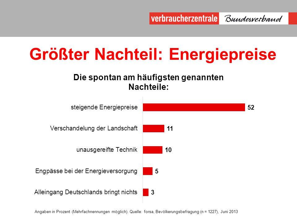 Größter Nachteil: Energiepreise Angaben in Prozent (Mehrfachnennungen möglich).