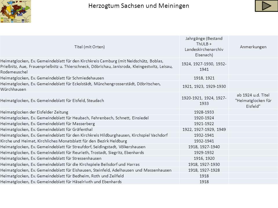 Herzogtum Sachsen und Meiningen Titel (mit Orten) Jahrgänge (Bestand ThULB + Landeskirchenarchiv Eisenach) Anmerkungen Heimatglocken, Ev. Gemeindeblat