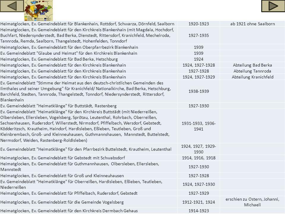 Heimatglocken, Ev. Gemeindeblatt für Blankenhain, Rottdorf, Schwarza, Dörnfeld, Saalborn1920-1923ab 1921 ohne Saalborn Heimatglocken, Ev. Gemeindeblat