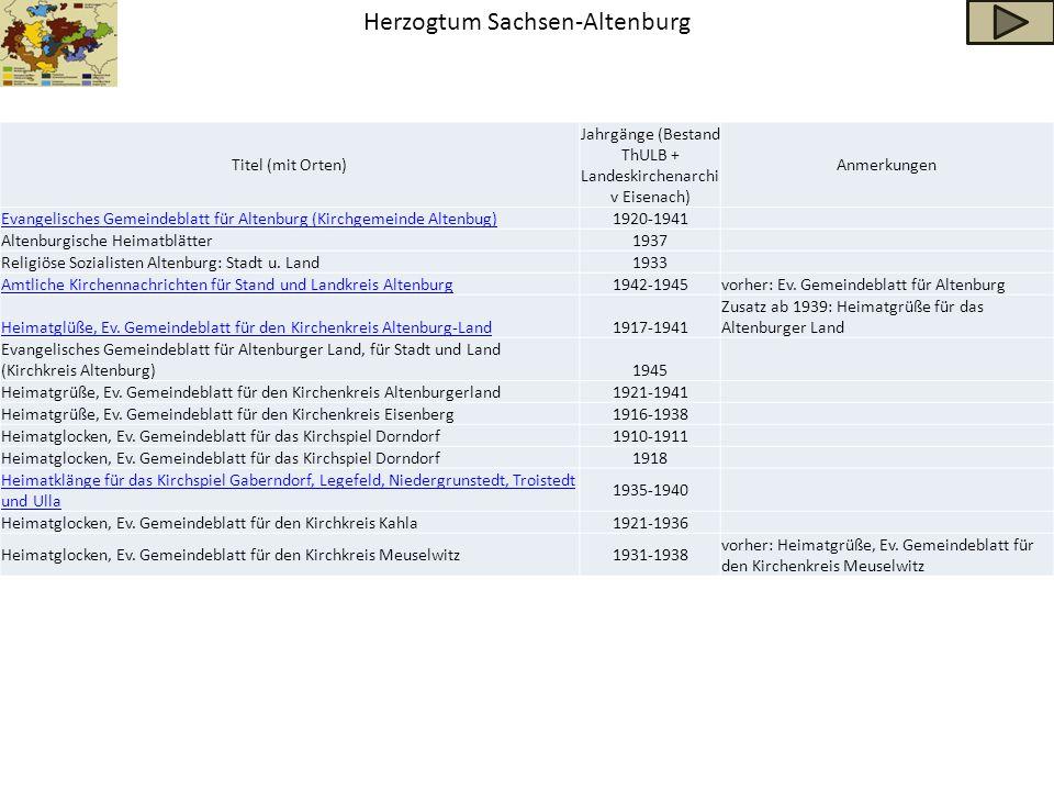 Herzogtum Sachsen-Altenburg Titel (mit Orten) Jahrgänge (Bestand ThULB + Landeskirchenarchi v Eisenach) Anmerkungen Evangelisches Gemeindeblatt für Al