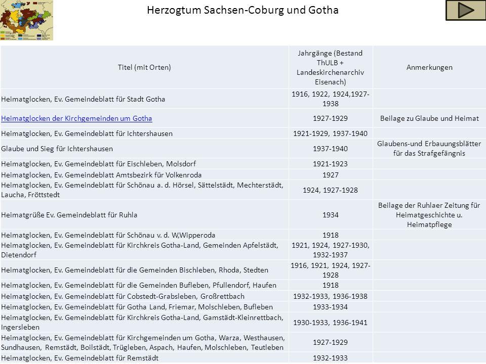 Herzogtum Sachsen-Coburg und Gotha Titel (mit Orten) Jahrgänge (Bestand ThULB + Landeskirchenarchiv Eisenach) Anmerkungen Heimatglocken, Ev. Gemeindeb