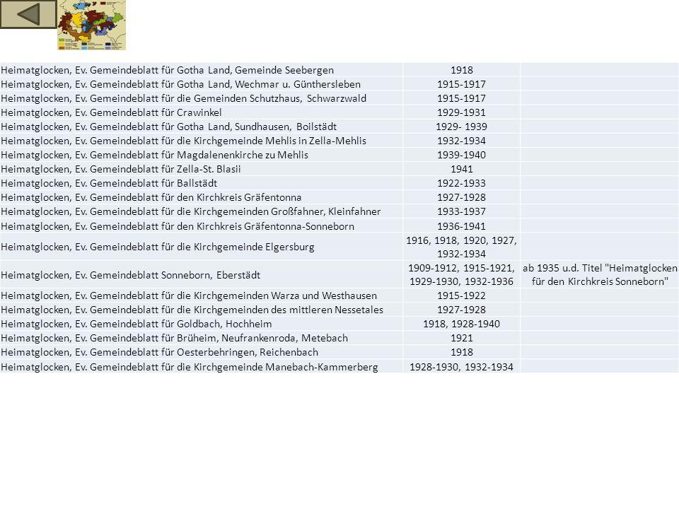 Heimatglocken, Ev. Gemeindeblatt für Gotha Land, Gemeinde Seebergen1918 Heimatglocken, Ev. Gemeindeblatt für Gotha Land, Wechmar u. Günthersleben1915-