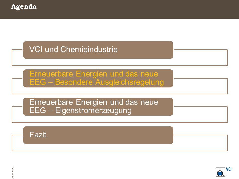 Agenda VCI und Chemieindustrie Erneuerbare Energien und das neue EEG – Besondere Ausgleichsregelung Erneuerbare Energien und das neue EEG – Eigenstrom
