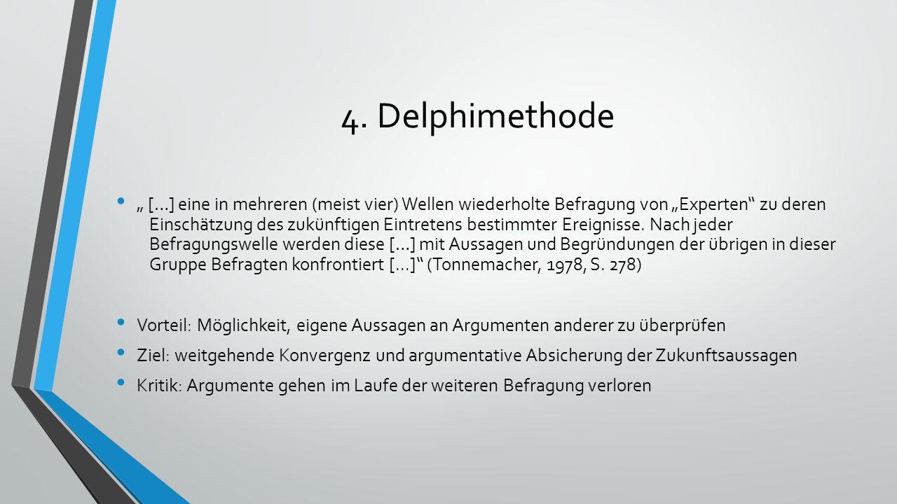 """4. Delphimethode """" […] eine in mehreren (meist vier) Wellen wiederholte Befragung von """"Experten"""" zu deren Einschätzung des zukünftigen Eintretens best"""