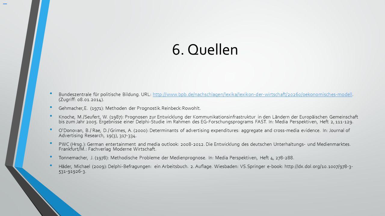 6. Quellen Bundeszentrale für politische Bildung. URL: http://www.bpb.de/nachschlagen/lexika/lexikon-der-wirtschaft/20260/oekonomisches-modell. (Zugri