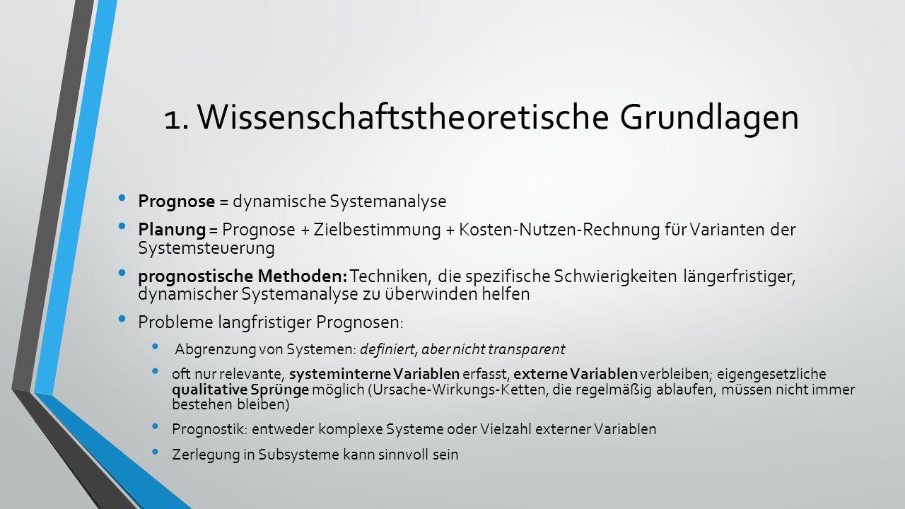 1. Wissenschaftstheoretische Grundlagen Prognose = dynamische Systemanalyse Planung = Prognose + Zielbestimmung + Kosten-Nutzen-Rechnung für Varianten