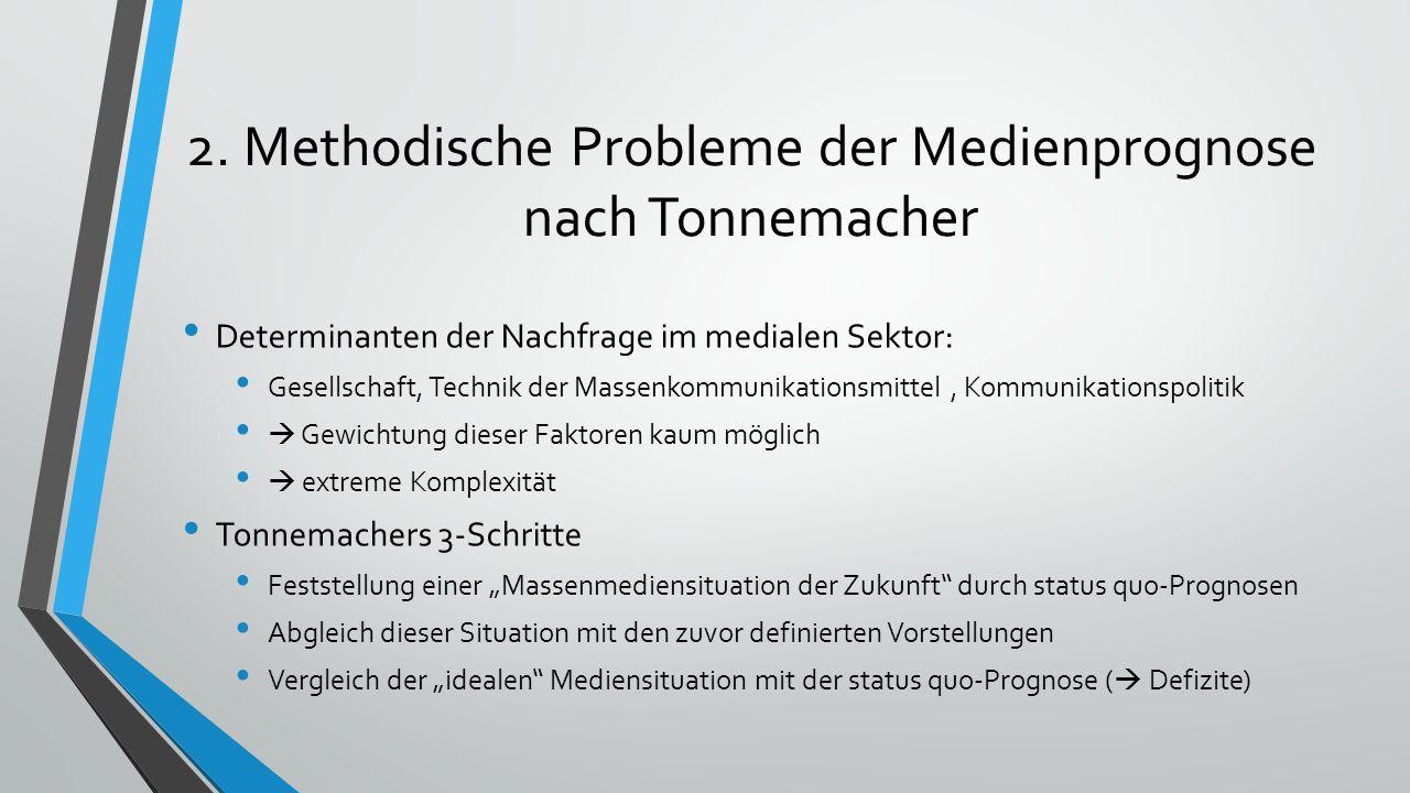 2. Methodische Probleme der Medienprognose nach Tonnemacher Determinanten der Nachfrage im medialen Sektor: Gesellschaft, Technik der Massenkommunikat