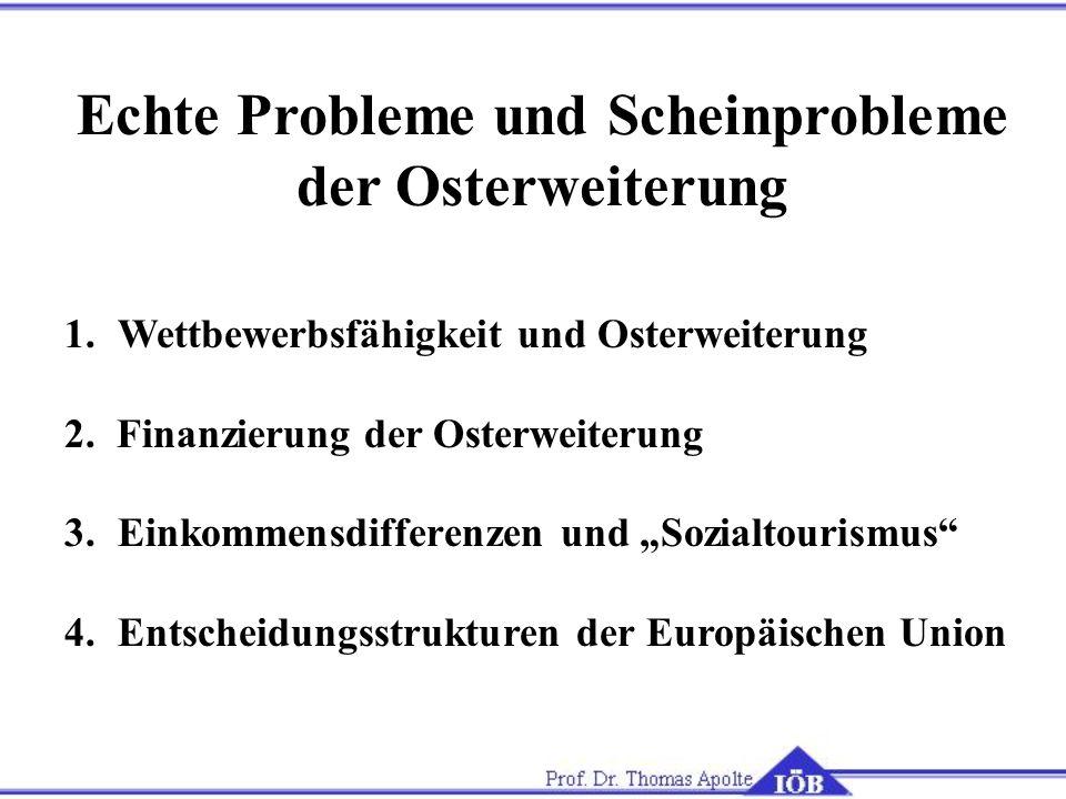 Echte Probleme und Scheinprobleme der Osterweiterung 1.Wettbewerbsfähigkeit und Osterweiterung 2. Finanzierung der Osterweiterung 3.Einkommensdifferen
