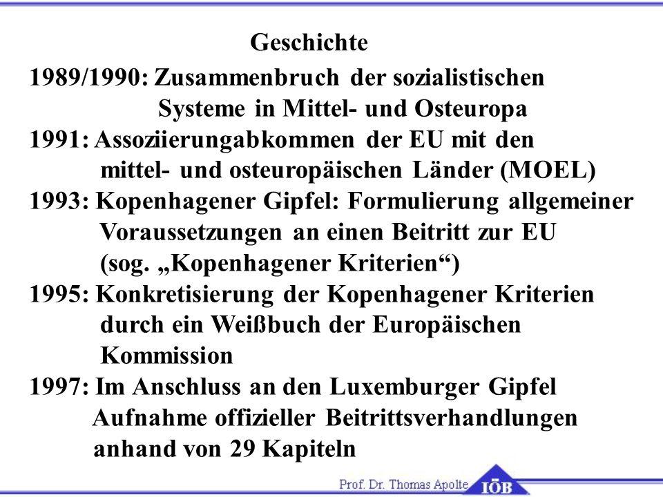Geschichte 1989/1990: Zusammenbruch der sozialistischen Systeme in Mittel- und Osteuropa 1991: Assoziierungabkommen der EU mit den mittel- und osteuro