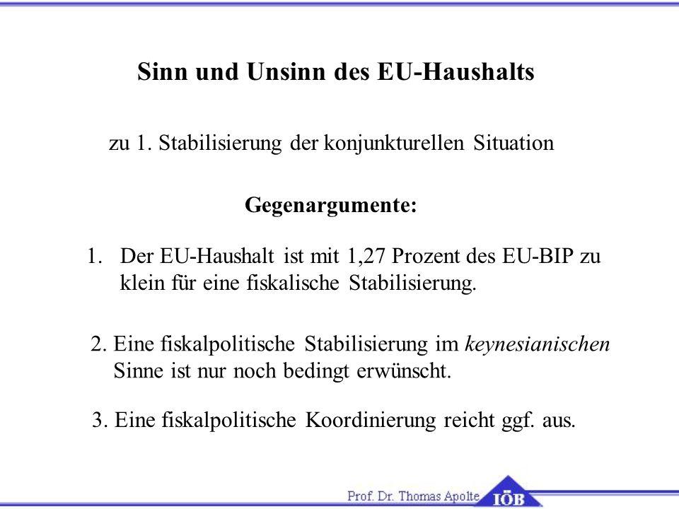 Sinn und Unsinn des EU-Haushalts zu 1.