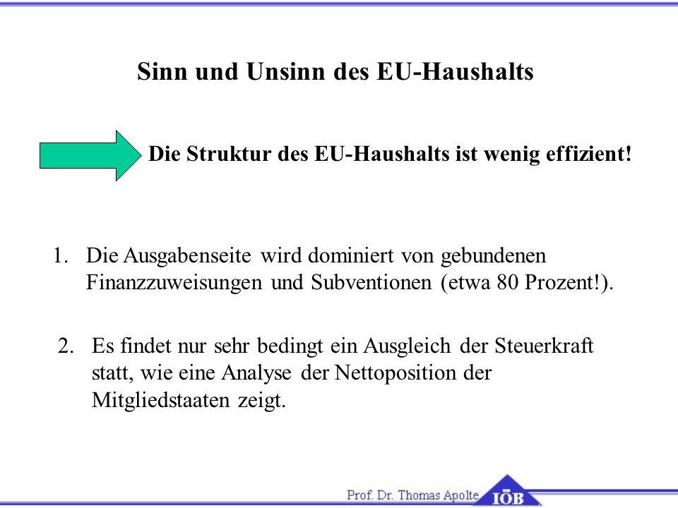 Sinn und Unsinn des EU-Haushalts Die Struktur des EU-Haushalts ist wenig effizient.