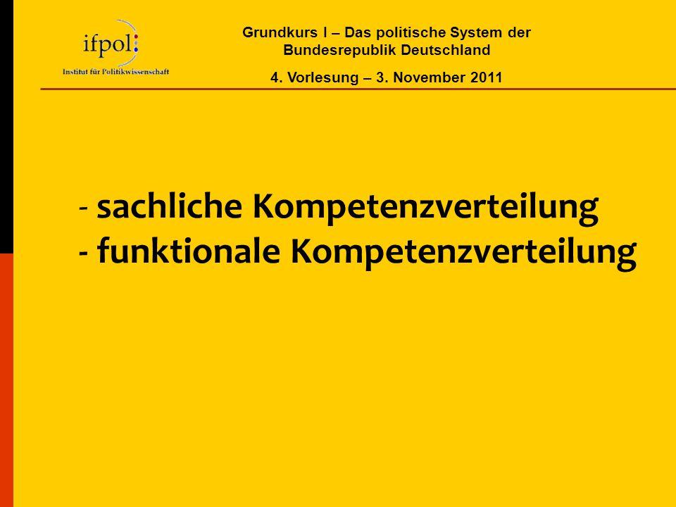 Grundkurs I – Das politische System der Bundesrepublik Deutschland 4. Vorlesung – 3. November 2011 - sachliche Kompetenzverteilung - funktionale Kompe