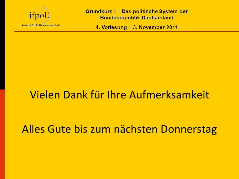 Grundkurs I – Das politische System der Bundesrepublik Deutschland 4. Vorlesung – 3. November 2011 Vielen Dank für Ihre Aufmerksamkeit Alles Gute bis