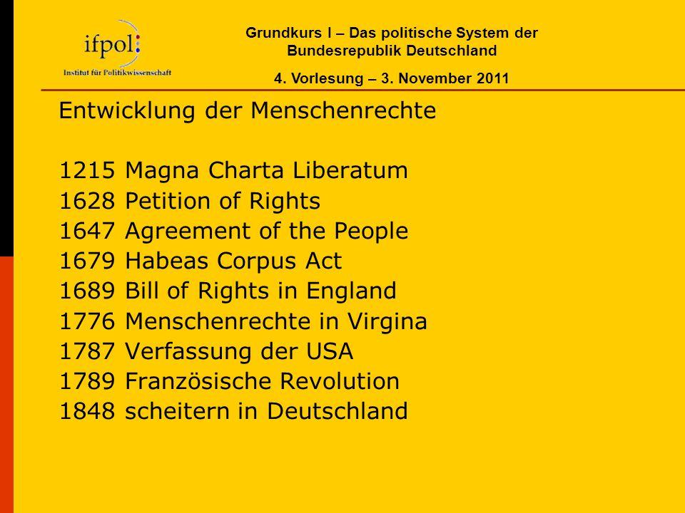 Grundkurs I – Das politische System der Bundesrepublik Deutschland 4. Vorlesung – 3. November 2011 Entwicklung der Menschenrechte 1215 Magna Charta Li