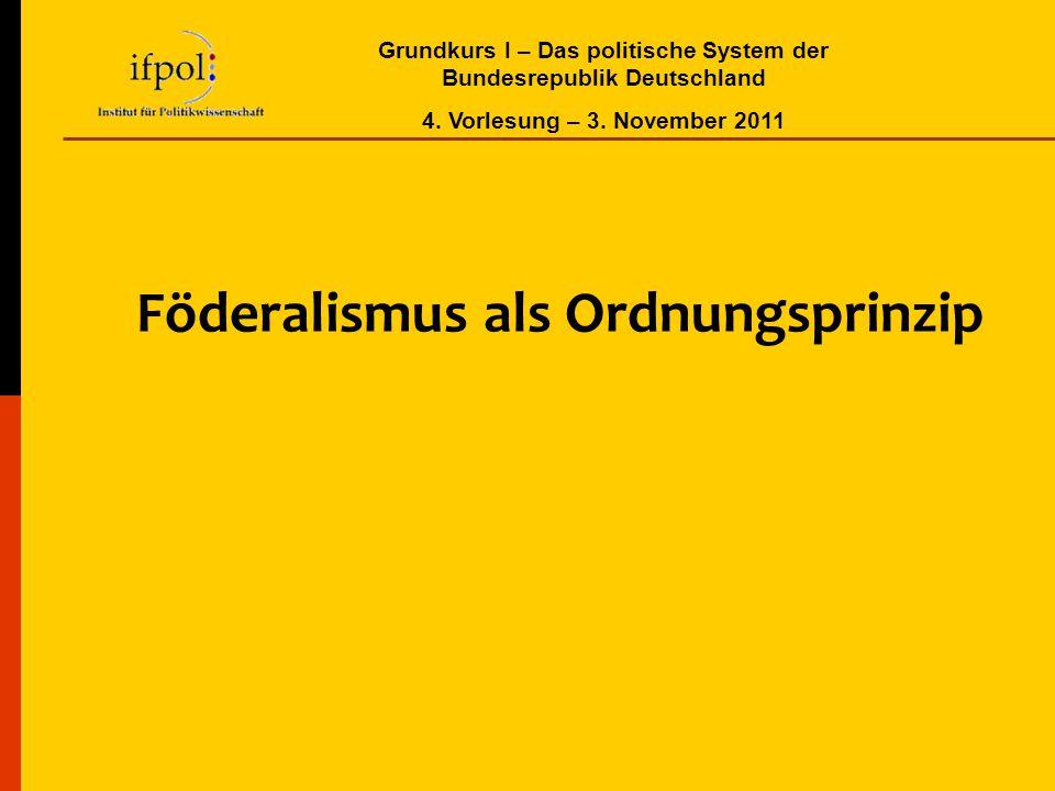 Grundkurs I – Das politische System der Bundesrepublik Deutschland 4. Vorlesung – 3. November 2011 Föderalismus als Ordnungsprinzip