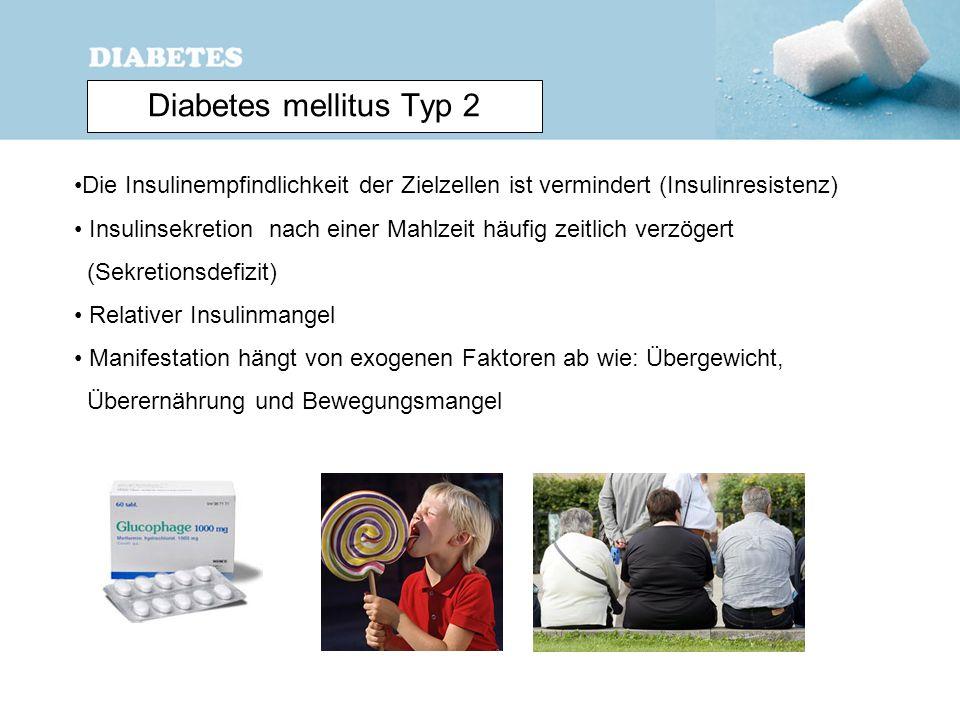 Diabetes mellitus Typ 2 Die Insulinempfindlichkeit der Zielzellen ist vermindert (Insulinresistenz) Insulinsekretion nach einer Mahlzeit häufig zeitli