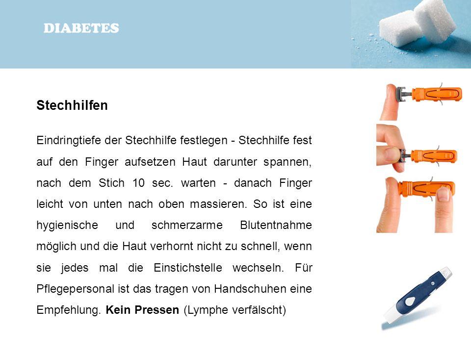 Stechhilfen Eindringtiefe der Stechhilfe festlegen - Stechhilfe fest auf den Finger aufsetzen Haut darunter spannen, nach dem Stich 10 sec. warten - d