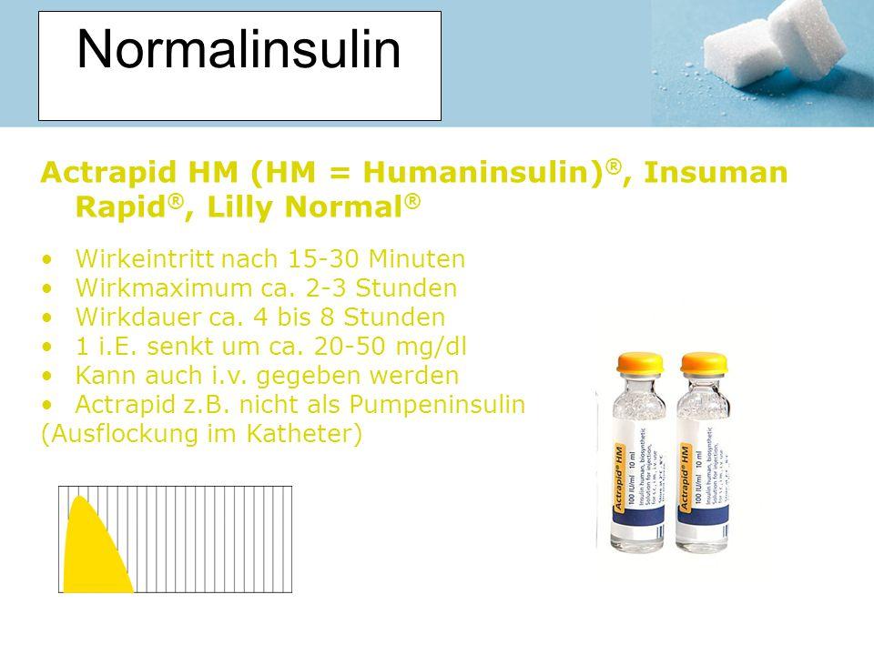 Normalinsulin Actrapid HM (HM = Humaninsulin) ®, Insuman Rapid ®, Lilly Normal ® Wirkeintritt nach 15-30 Minuten Wirkmaximum ca. 2-3 Stunden Wirkdauer