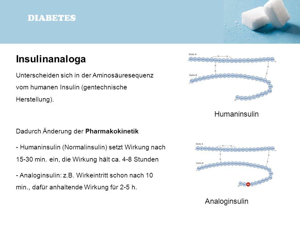 Insulinanaloga Unterscheiden sich in der Aminosäuresequenz vom humanen Insulin (gentechnische Herstellung). Dadurch Änderung der Pharmakokinetik - Hum
