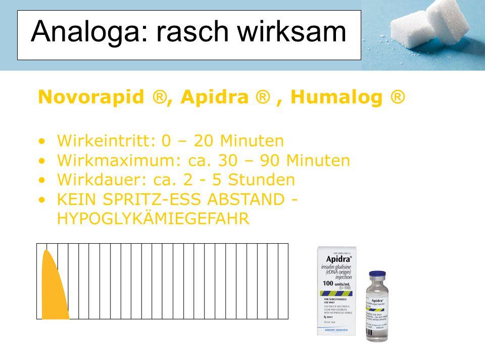 Analoga: rasch wirksam Novorapid ®, Apidra ®, Humalog ® Wirkeintritt: 0 – 20 Minuten Wirkmaximum: ca. 30 – 90 Minuten Wirkdauer: ca. 2 - 5 Stunden KEI