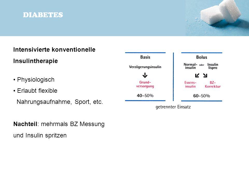 Intensivierte konventionelle Insulintherapie Physiologisch Erlaubt flexible Nahrungsaufnahme, Sport, etc. Nachteil: mehrmals BZ Messung und Insulin sp