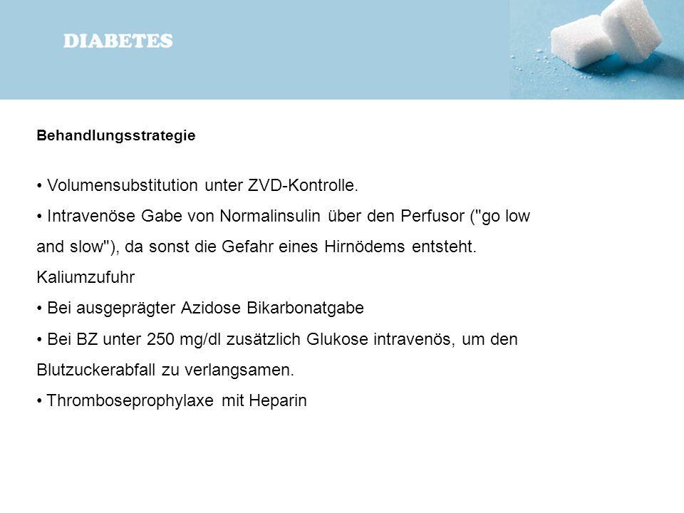 Behandlungsstrategie Volumensubstitution unter ZVD-Kontrolle. Intravenöse Gabe von Normalinsulin über den Perfusor (
