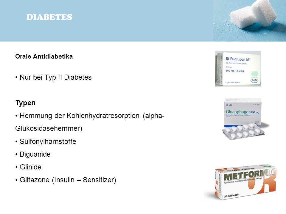 Orale Antidiabetika Nur bei Typ II Diabetes Typen Hemmung der Kohlenhydratresorption (alpha- Glukosidasehemmer) Sulfonylharnstoffe Biguanide Glinide G