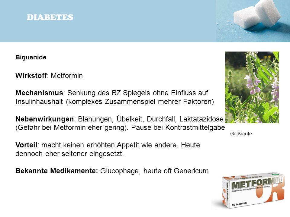 Biguanide Wirkstoff: Metformin Mechanismus: Senkung des BZ Spiegels ohne Einfluss auf Insulinhaushalt (komplexes Zusammenspiel mehrer Faktoren) Nebenw
