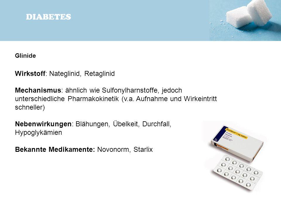 Glinide Wirkstoff: Nateglinid, Retaglinid Mechanismus: ähnlich wie Sulfonylharnstoffe, jedoch unterschiedliche Pharmakokinetik (v.a. Aufnahme und Wirk