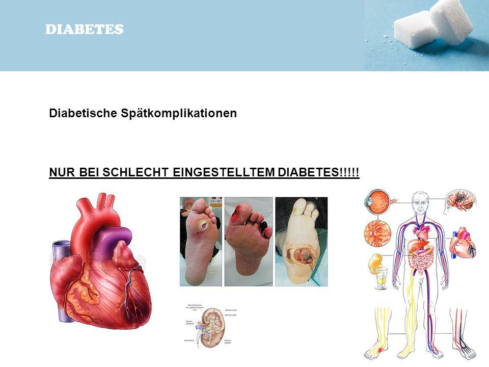 Diabetische Spätkomplikationen NUR BEI SCHLECHT EINGESTELLTEM DIABETES!!!!!