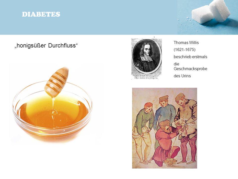 """""""honigsüßer Durchfluss"""" Thomas Willis (1621-1675) beschrieb erstmals die Geschmacksprobe des Urins"""